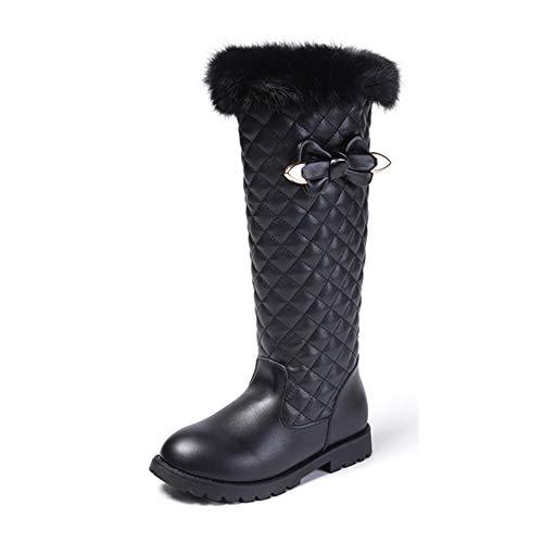 (BININBOX Girls Knee High Boots Genuine Leather Snow Boots Girls Winter Boots Kids (11 M US Little Kid, Black))