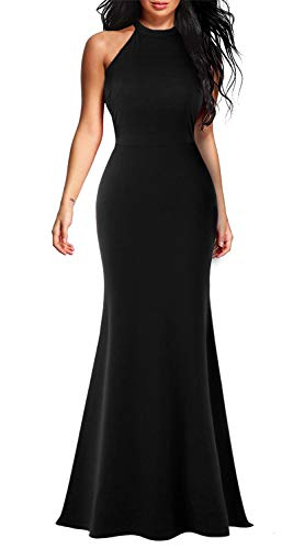- Lamilus Evening Dresses, Mermaid Prom Dress:Women's Halter Neck Sleeveless Solid Bodycon Floor-Length Long Wedding Guest Gown Dress(L,Black-L028)