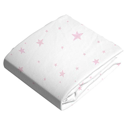 Kushies Pink Scribble Stars Changing Pad Cover with Slits for Safety Straps -