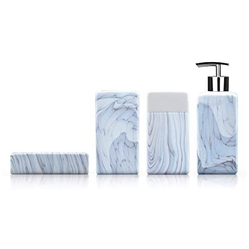 Fimary Bathroom Accessories Set Blue Ceramic Including 4 Pc Marble Bathroom Accessories Set Soap Dispenser Toothbrush Beachfront Decor