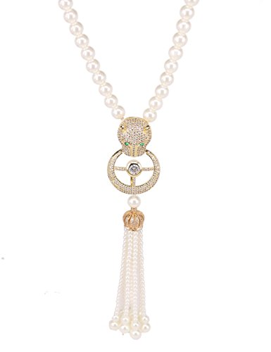 Long Sweater Chain Pearl Strand Necklaces Tassel Leopard Head Pendant Necklace with CZ Statement Necklace (gold)