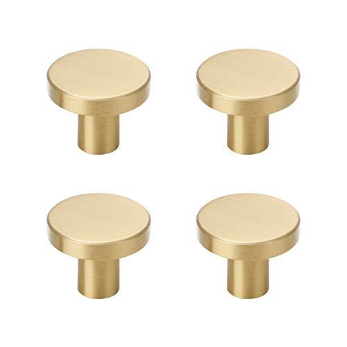 - Tiazza 4Pcs Mid-Century Modern Style Premium Solid Brass Knobs Single Hole Drawer Handle Wardrobe Door Pulls (Gold)