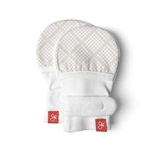 Goumimitts, Scratch Free Baby Mittens, Organic Soft Stay On Unisex Mittens, Stops Scratches and Prevents Germs (3-6 Months, Diamond Dots Cream)