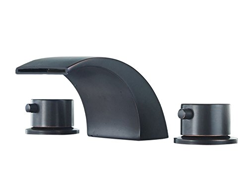 Greenspring Deck Mount Commercial Double Handles Led Waterfall Widespread Bathroom Faucet,Oil Rubbed Bronze
