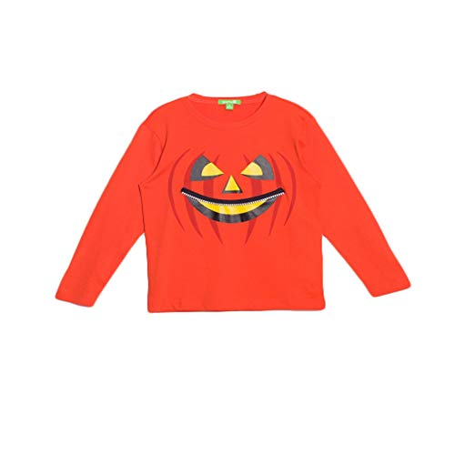- bossini Easygoing Winter Kids Toddlers Jack O Lantern' Pumpkin Long Sleeved Tee Shirt for Party (100, US Size 4t) Orange