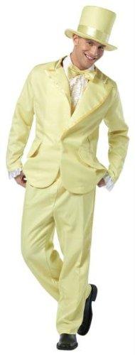 Halloween Costumes Item - 70s Funky Tuxedo Pastel Yellow Mens Adult Costume (Funky Tuxedo Adult Men Costume)