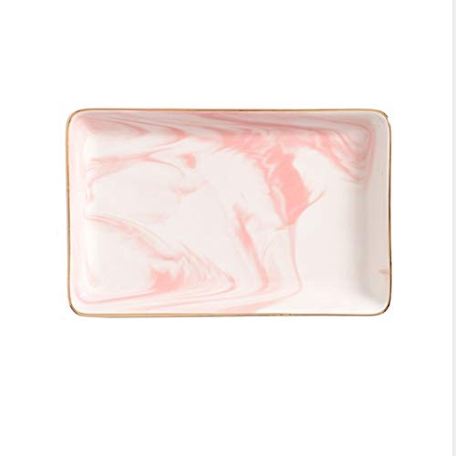 Marble Ceramic Jewelry Tray Ring Dish Ring Holder Display Organizer with Golden Edged Wedding Valentine's Day Housewarming Gift (Pink ()