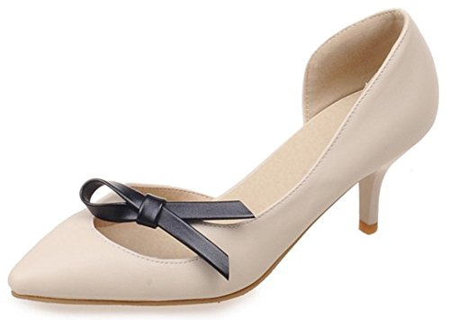 IDIFU Womens Sexy Cut Out Bow Stiletto Kitten Heel D-orsay Pumps Pointy Slip On Shoes Beige JaoiN