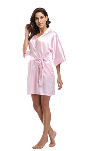Luvrobes Women's Satin Kimono Robe, Solid Color, Short(Light Pink, S) -