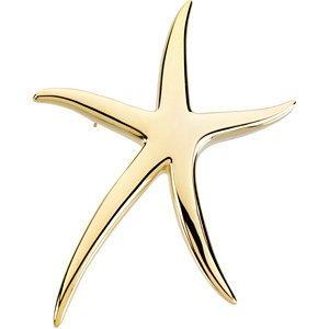Jambs Jewelry 14K Yellow Starfish Brooch/Pendant