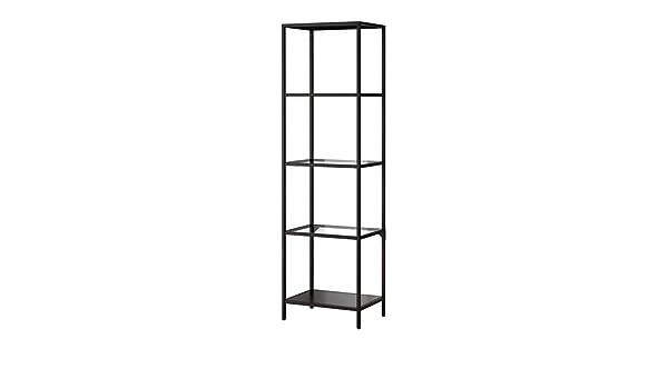 Estantería, negro-marrón, vidrio - - IKEA Vittsjö 51x175 cm: Amazon.es: Hogar