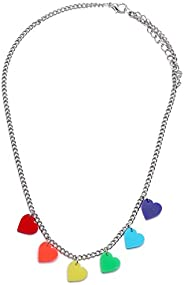 Cute Silver Colorful Rainbow Love Heart Pendant Chain Necklace Gift for Womens Girls Kids Birthday
