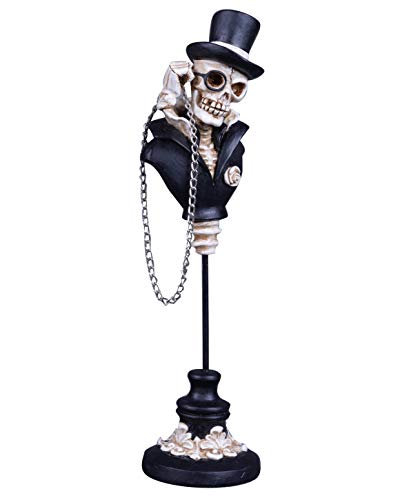 Transpac Imports D0840 Resin Skeleton Bust Figurine Black