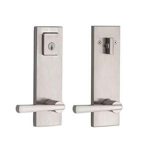 (Baldwin Spyglass Single Cylinder Front Door Handleset Featuring SmartKey Security in Satin Nickel, Prestige Series with a Modern Contemporary Slim Door Handleset and Square Lever)