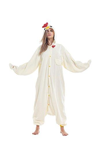 Sqlszt Adult Animal Onesie Chicken One Piece Cosplay Pajamas Costume for Women Men -