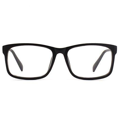 Mode Rectangulaire Black Cadre Matte Po2 Lentille Casual Gqueen Lunettes Lens 15qw4wnAa