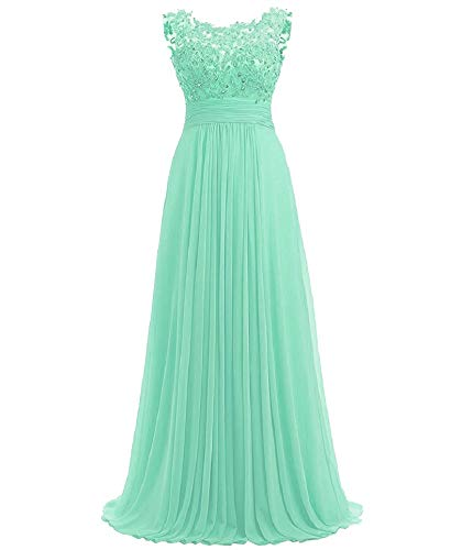(PROMLINK Women's Beaded Chiffon Evening Gown Long Bridesmaid Prom Dress,Mint)