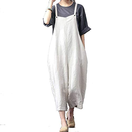 Celmia Womens Casual Loose Bib Baggy Overalls Jumpsuit Pants Cotton Linen Romper Beige L