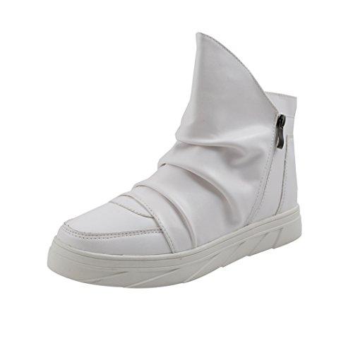 Desklets Mens Winter Fashionable Sneaker Warm Zipper Dunk High Shoes(10 D(M) US,White)