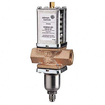 """Johnson Controls V246GD1-001C Penn V246 Series Two-Way Water-Regulating Valve for High-Pressure Refrigerant, North American Standard, Direct Acting, Commercial, Style 5, 1"""" NPT Screw from Johnson Controls"""