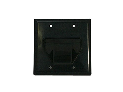Monoprice 103998 Recessed Low Voltage Cable Wall Plate, 2-Gang, Black