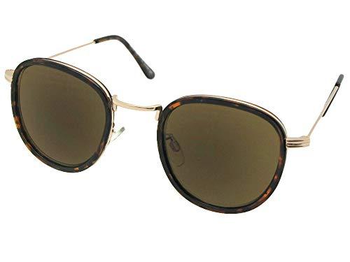 Semi Round Retro Reading Sunglasses Style R104 (Lite Tortoise/Gold Brown Lenses, - Lite Gold Lens