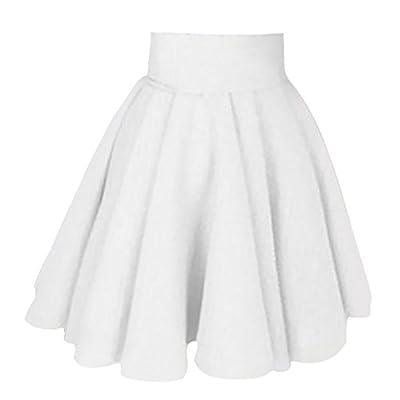 Le Seul Women's Vogue Elastic Waist A Line Pleated Flard Skater Midi Skirts