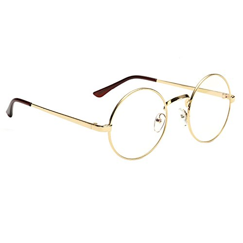 Scorpiuse Aviator Glasses Clear Lens Retro Metal Frame Eyeglasses (Round Gold, - Gold Round Eyeglasses