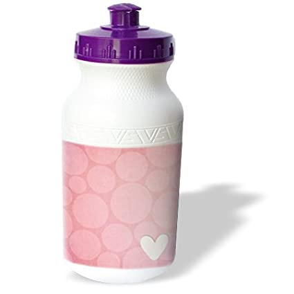 21 oz 3dRose wb/_159288/_1 Large Pink Circles Pattern with a Heart Sports Water Bottle White