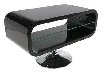 TV Tisch Lounge Couchtisch SATURN Schwarz Hochglanz 80cm Mit Glaseinleger