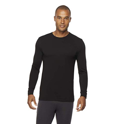 Mens Heat Plus Crew Neck Baselayer Top, Black, Medium