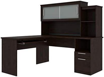 Bestar L-Shaped Desk with Pedestal and Hutch – Dayton