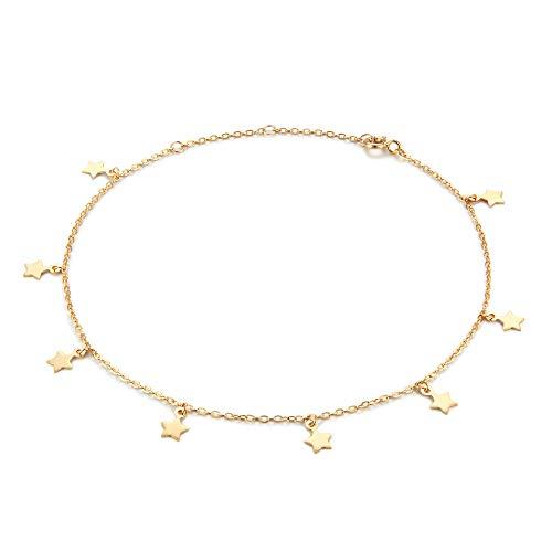 - 925 Sterling Silver Star Anklet,Tiny Stars Dangle Anklets for Women,14K Gold Plated Adjustable Charm Star Ankle Bracelet