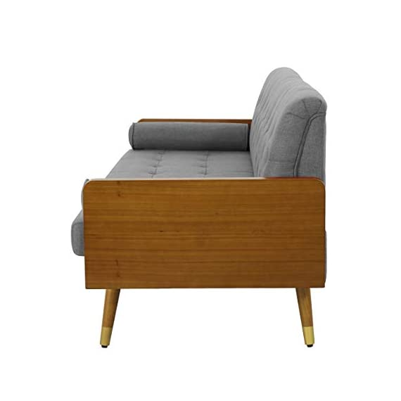 Christopher Knight Home Aidan Mid Century Modern Tufted Fabric Sofa, Gray - This mid Century modern sofa is a wonderful addition to any room in your home. Featuring wood sides and rounded legs for a true Mid Century feel. This sofa has extra plush cushioning and a button Tufted Seat and Back. With both style and comfort, you can't go wrong with this sofa. Includes: one (1) sofa Material: fabric - sofas-couches, living-room-furniture, living-room - 31wx92PQ ZL. SS570  -