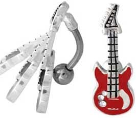 silver and multi, cute guitar bellyring bellybutton ring Simple Rock On