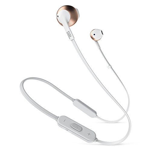 JBL T205BT Wireless In-Ear Headphones with Three-Button Remote and Microphone (Rose Gold) by JBL