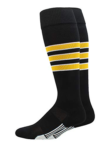 - MadSportsStuff Dugout 3 Stripe Baseball Socks (Black/Gold/White, Small)