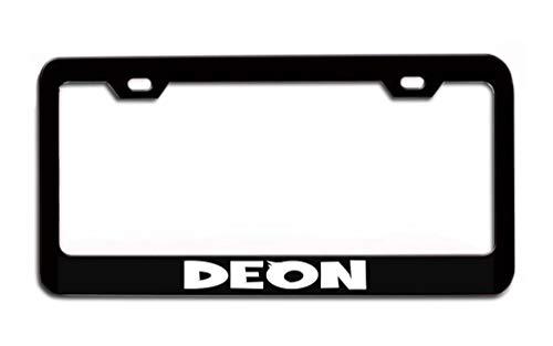 Poloran Deon Black Painted Metal License Plate Frame Black Metal Chrome Metal Laser Engraved Personalized Custom