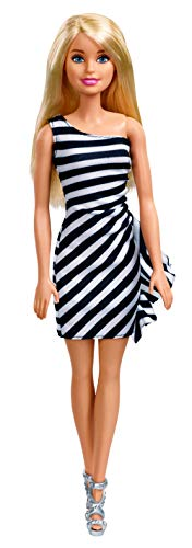 Barbie Doll, Blonde, Wearing Glitzy Black and White Striped Party Dress, Gift for 3 to 7 Year Olds