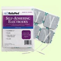 Reliamed Rectangular Cloth Back Carbon Electrode w/ Multistick Gel - 4 electrodes per pack
