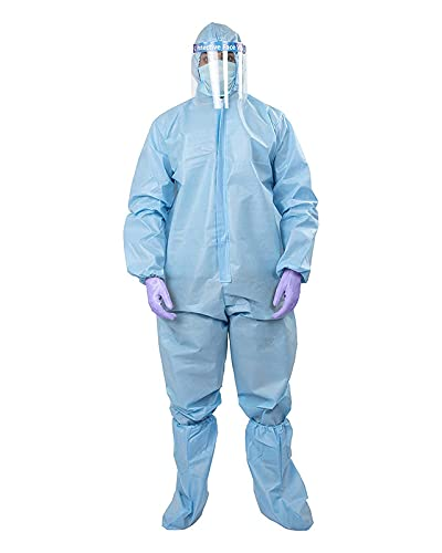 TIP TOP FASHION PPE Kit (Washeble (Re-useble) Coverall with Hood, 3Ply Face Mask, Shoe Cover)-Made In India