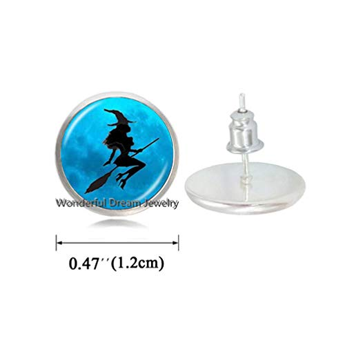 Waozshangu Witch with Broom Earrings Full Moon Stud Earrings Wiccan Pagan Jewelry Glass Cabochon Sweater Chain Earrings Cat Jewellery,PU187 (Silver) -