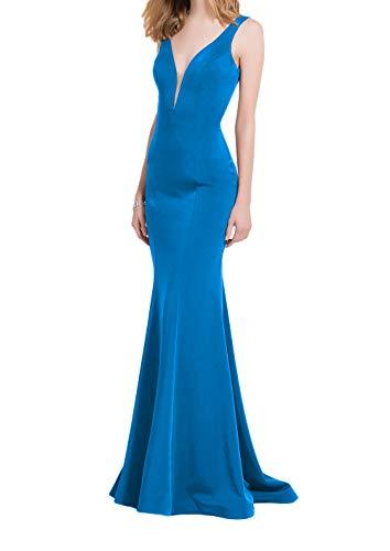 Ausschnitt Marie La Satin lang Blau V Traube Abendkleider Partykleider Promkleider Braut Etuikleider Meerjungfrau Tief SFFwqYx