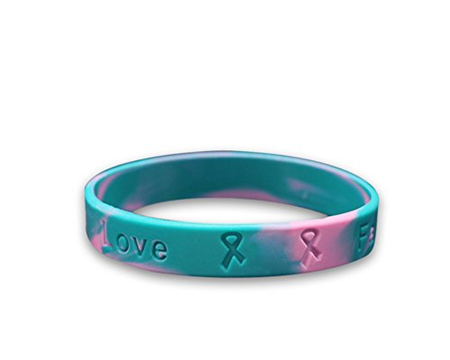 Fundraising For A Cause Hereditary Breast Cancer Awareness Pink & Teal Silicone Bracelet - (1 Bracelet - Retail) (RE-SILB-24)
