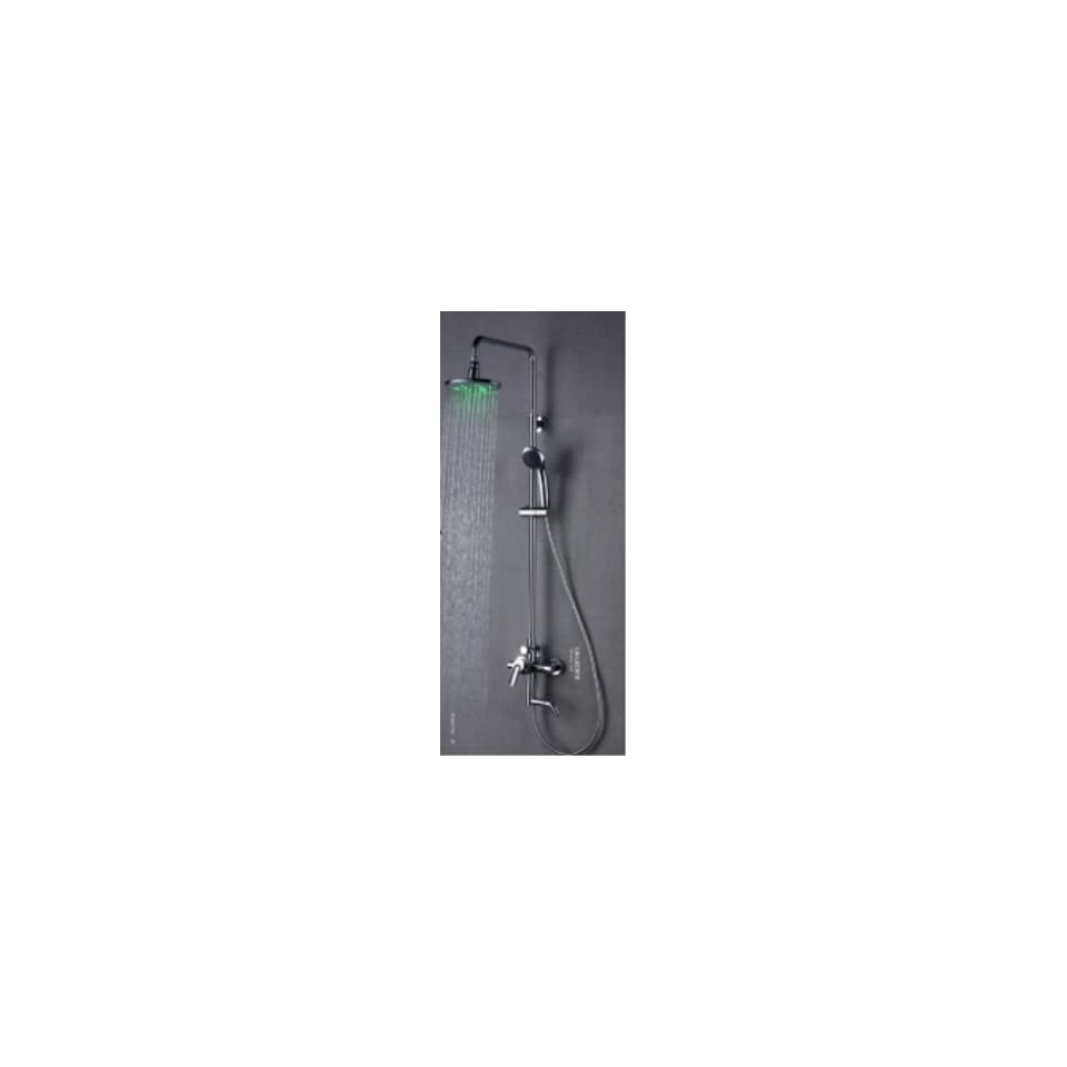 Faucetland 024001979 Single Handle Wall Mount Rain Shower Faucet with Adjustable Slide Bar and Build in LED Lights, Chrome