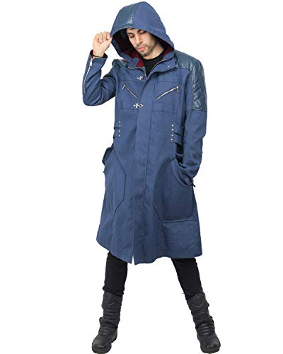 X-COSTUME Devil May Cry V 5 Nero Long Adult Hooded Trench Coat Jacket Anime Cosplay Costume (XL)]()
