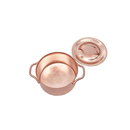 - Hot  Dollhouse Accessories Miniature Kitchen Copper Cooking Pan Pot Cookware Kids Pretend Play Toy - for 1:12 Doll House, Gold, 1.10