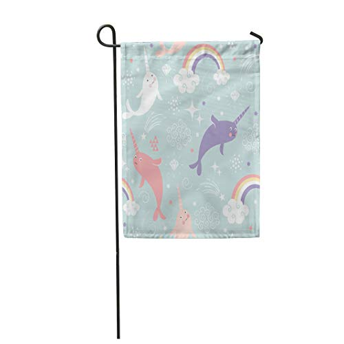 Semtomn Garden Flag 12x18 Inches Print On Two Side Polyester Unicorn Narwhal Pattern Rainbow Children Fish Pastel Sea Cartoon Colors Home Yard Farm Fade Resistant Outdoor House Decor -