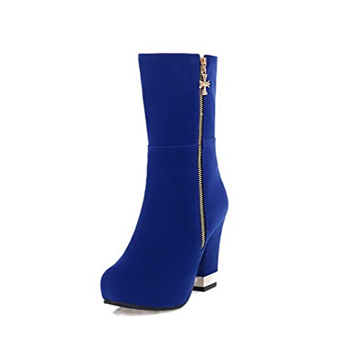 AllhqFashion Women's Round Boots Closed Toe High-Heels Frosted Low top Solid Boots Round B01MF9Q457 Shoes 4c9781