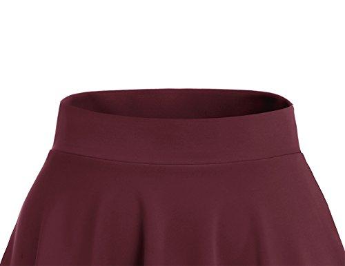 midi vase en Dresstells Burgundy Polyester Mini Courte Jupe Ft8qHHwv70
